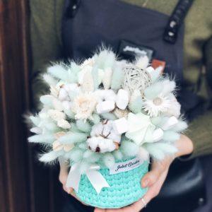 Хлопковое кашпо с сухоцветами